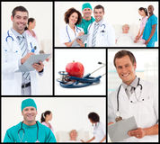 Montage of healthcare and nutrition concept. With doctors portraits Royalty Free Stock Image