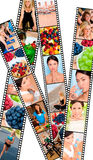 Montage Healthy Women Female Lifestyle & Eating. Filmstrip style montage of interracial female women working out at a gym, active exercising and enjoying a royalty free stock image