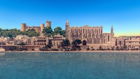 bellver castle and palma de mallorca cathedral royalty free stock image