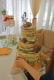 Montage installation of nude wedding cake on stump, pretty cake with cones, grass royalty free stock photography