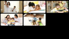 Montage of lively families having fun Royalty Free Stock Photos