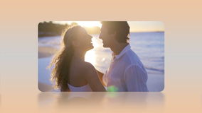 Montage of lovers in honeymoon selected by a hand Stock Photography
