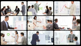 Montage of managers doing presentations stock video