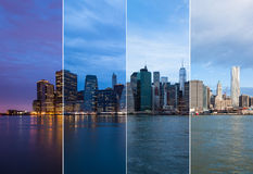 Montage of Manhattan skyline night to day - New york - USA Royalty Free Stock Image