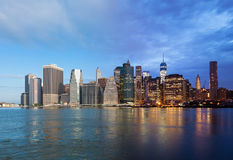 Montage of Manhattan skyline night to day - New york - USA Royalty Free Stock Photo