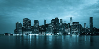 Montage of Manhattan skyline night to day - New york - USA Royalty Free Stock Images