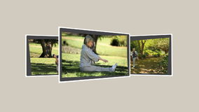 Montage of mature couples relaxing annd exercising
