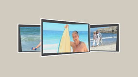 Montage of mature persons relaxing during their holidays. Montage of mature persons relaxing on the beach during their holidays stock footage