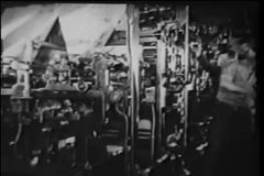 Montage of men working in printing factory