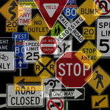 Montage of Numerous Traffic Control Signs Royalty Free Stock Photos