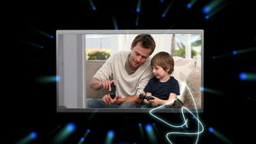 Montage of people enjoying various media devices. On black galaxy background stock footage