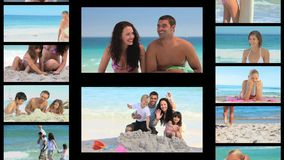 Montage of people on the seaside stock video