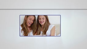 Montage of people using media devices. Montage of happy people using media devices on white backgroud stock video footage