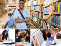 Montage with pictures of cheerful students Stock Photo