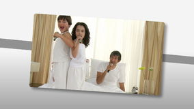Montage presenting jolly families relaxing Stock Image