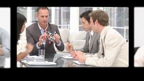 Montage of professionals exchanging ideas stock video footage