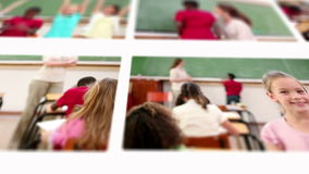 Montage of pupils with teacher studying Stock Photos