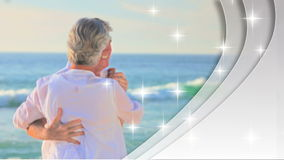 Montage of retired couples in love. On shining grey background with heart shape screens stock video