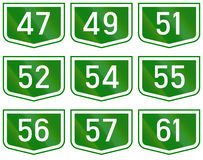 Montage of route shields of numbered main roads in Hungary Stock Images
