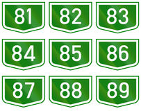 Montage of route shields of numbered main roads in Hungary.  Stock Image