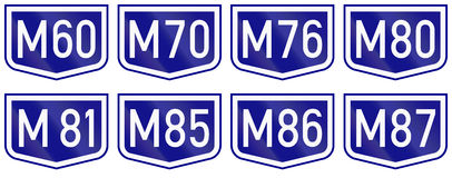 Montage of route shields of numbered main roads in Hungary Royalty Free Stock Photography