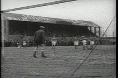 Montage - 1930s soccer game stock video footage