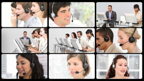Montage of service customer agents at work stock video