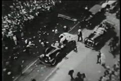 Montage - ticker tape parade, New York City, 1930s stock video footage