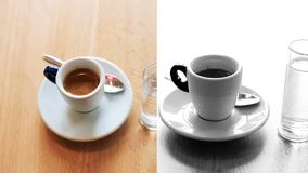 Montage of two cups of espresso and americano on background. Full HD stock video