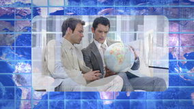 Montage of videos showing business people with colleagues with Earth image courtesy of Nasa.org Stock Images