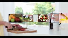 Montage von Clipn der gesunden Ernährung stock video