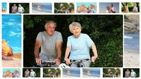 Montage von den älteren Paaren, die zusammen Momente teilen stock video