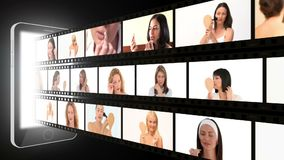 Montage von den attraktiven Frauen, die an Make-up setzen stock video