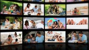 Montage von den entspannenden Paaren und Familien stock video