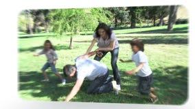Montage von den Familien, die Spaß haben stock video footage