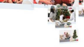 Montage von den Familien, die zusammen Weihnachtstag feiern stock video footage