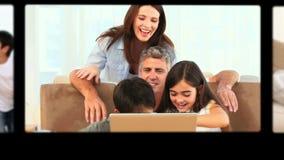 Montage von den Familien, welche die schönen Zeiten zusammen haben stock video footage