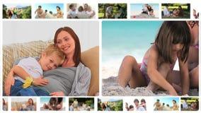 Montage von den Familienmitgliedern, die zusammen Momente teilen stock video footage