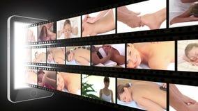 Montage von den Frauen, die den Badekurort genießen stock video footage