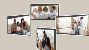 Montage von den frohen Familien, die Spaß haben stock footage
