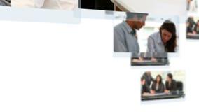 Montage von den Geschäftsleuten, die über Projekte sprechen