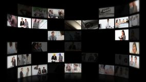 Montage von den Geschäftsleuten, die Ideen austauschen Lizenzfreie Stockbilder