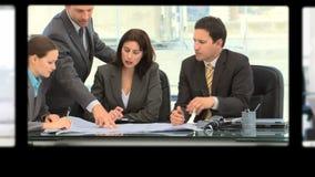 Montage von den Geschäftsleuten, die Ideen austauschen stock video footage