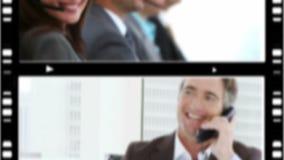 Montage von den Geschäftsleuten, die am Telefon sprechen stock video footage