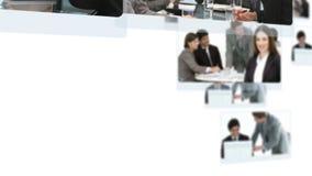 Montage von den Geschäftsleuten, die zusammen sprechen stock video footage