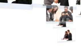 Montage von den Geschäftsleuten, die zusammen sprechen stock footage