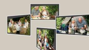Montage von den Großeltern, die Zeit mit ihrer Familie verbringen stock video