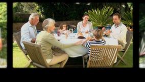 Montage von den Großeltern, die Zeit verbringen und mit ihrer Familie stock video footage