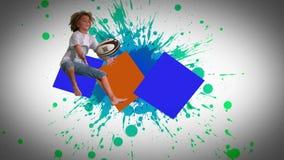 Montage von den Kindern, die in der Zeitlupe springen und spielen stock footage