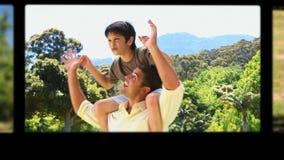 Montage von den Kindern, die Spaß mit ihren Eltern und Großeltern haben stock footage